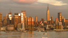 New York City Hudson River View Skyline, Time Lapse Video Stock Footage