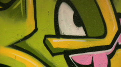 Colorful graffiti on a concrete wall Stock Footage