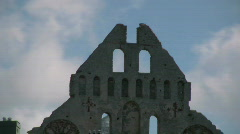 Old medieval ruin in the city of Visby ob the island Gotland Stock Footage