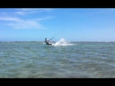 Stock Video Footage of Kitesurfer in the air board grab