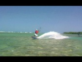 Stock Video Footage of Kitesurfer in the air water POV