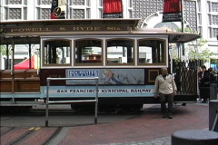 Turning cable car SF - stock footage