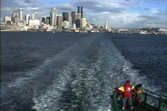 Seattle WA from ferry Stock Footage