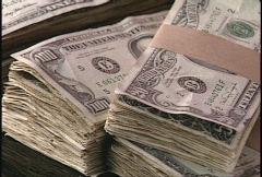 Stacks of money Stock Footage