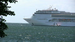Cruise ship outside the island of Gotland in Sweden Stock Footage