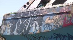 Jm685-The Abandon Graffiti Ship Stock Footage