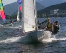 White sailing dinghy Stock Footage