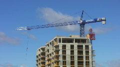 Blue construction crane.  Stock Footage