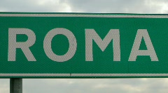 Highway sign in Italy shows the direction of Rome Stock Footage