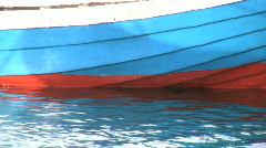 Wooden hull on a fishing boat Stock Footage