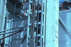 Vintage construction lift Stock Footage