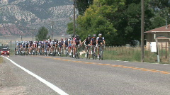 Tour of Utah bike race main group close M HD Stock Footage