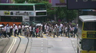 Stock Video Footage of Hong Kong Causeway Bay Hennessy Road crowded pedestrians crossing zebra road