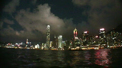 China Hong Kong financial district Victoria harbour harbor Stock Footage