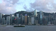 China Hong Kong financial district Victoria harbour harbor night Stock Footage