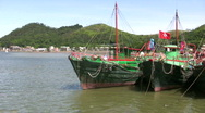 Chinese fishing junks in Tai O Hong Kong China Stock Footage