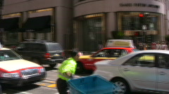 Union Square Intersection Pan Stock Footage