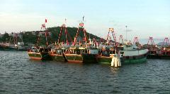 China Hong Kong Chinese junks sampans boats - stock footage