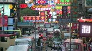 Stock Video Footage of China Hong Kong Mong Kok neon signs
