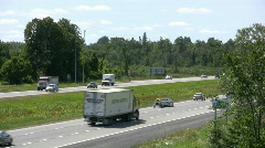 Traffic On A Canadain Highway Summertime Stock Footage