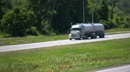 Eighteen Wheel Semi Tanker Truck Driving On A Canadian Highway Stock Footage