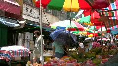 China Hong Kong street market vendor Stock Footage
