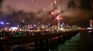 Stock Video Footage of China Hong Kong Victoria harbor harbour firework