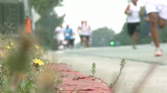 Marathon Runners from the Curb Stock Footage