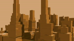 Orange Tech City with Sun. 3D HD1080. Loopable. Stock Footage