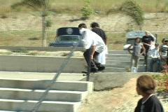 Skateboarding Kickflip stairs Stock Footage