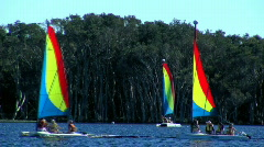Colourful Sailing Catamarans Sailed by Youth/Children on Lake Stock Footage