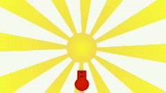 Hot Sun Animated Illustration. HD 1080. Stock Footage