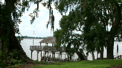 Boat house trees Stock Footage