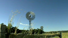 Windmill & Grasses Farm Scene 2  - Windy Day Stock Footage