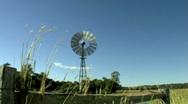 Windmill & Grasses Farm Scene 2  - Windy Day Stock Footage