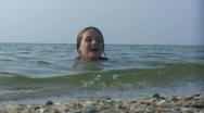 Girl in sea  Stock Footage