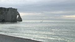 Etretat beach and sea - stock footage