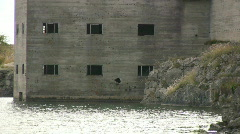 Structure in an abandon limestone quarry on the island Gotland Stock Footage
