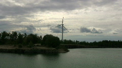 Wind turbine park in an old limestone quarry on Gotland in sweden Stock Footage