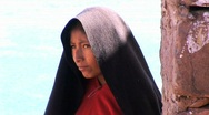 Peruvian girl with black scarf Stock Footage