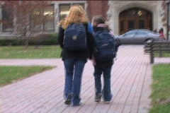 STUDENTS WALKING TO SCHOOL - stock footage