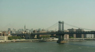 Stock Video Footage of Manhattan Bridge from Brooklyn Bridge