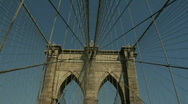 Stock Video Footage of Brooklyn Bridge Bicycling Walking