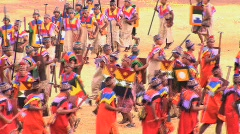 Participants run at the Inti Raymi festival Cuzco, Peru Stock Footage