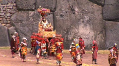 King is carried at the Inti Raymi festival Cuzco, Peru Stock Footage