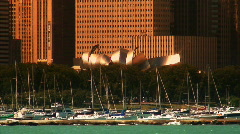 Sailboats and Millenium Park - stock footage