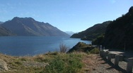 Stock Video Footage of Mountain View with Water outside of Queenstown New Zealand