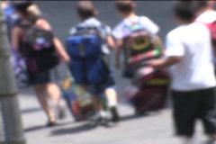OUTSIDE SHOT OF KIDS WALKING INTO YARD Stock Footage
