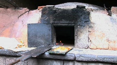 wood burning oven for bread in Peru Stock Footage