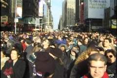 Stock Video Footage of NYC New Year's Eve 2000 Crowd 01